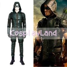 Green Arrow Sezonul 5 Costum Cosplay Bărbați Adulți Fancy Costume de Halloween Oliver Queen Green Arrow costum piele costum de luptă