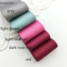 Kewgarden 38mm 1-1/2 Matte Cotton Satin Ribbon Handmade Tape DIY Bow Brooch Sewing Soft Ribbons  8 Meters kewgarden handmade tape 1 1 2 38mm thick soft cotton fabric satin ribbon diy bow tie brooch ribbons double face riband 8 meter