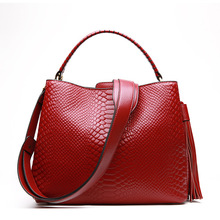 HANSOMFY women Serpentine Handbag  Genuine Cow Real Leather Ladies Crossbody Tote Bag Large Tassel Shoulder Bag
