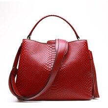 HANSOMFY women Serpentine Handbag Genuine Cow Real Leather Ladies Crossbody Tote Bag Large Tassel Shoulder Bag