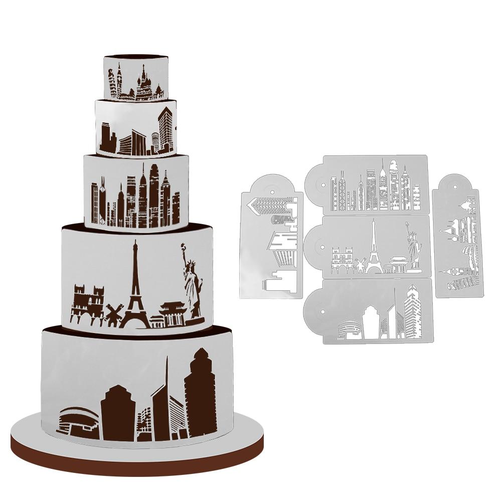 5pcs Urban Landscape plastic wedding cake stencils Baking Des