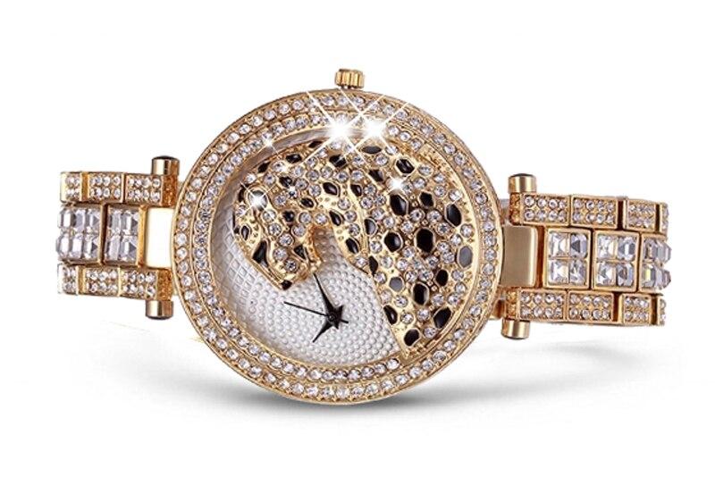 MISSFOX 30m Life Waterproof Gold Women Quartz Watch Fashion Bling Casual Ladies Watches Crystal Diamond Leopard for Women Clock (16)