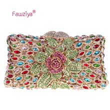 Fawziya Handbag Briefcases Flower Purse Women's Luxury Rhinestone Clutch Evening Bag