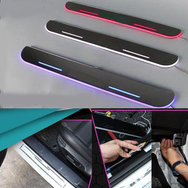 Para Toyota Camry Corona Corolla Highlander coche LLEVÓ la luz En Movimiento puerta etiqueta de la Placa del desgaste del pedal protector styling