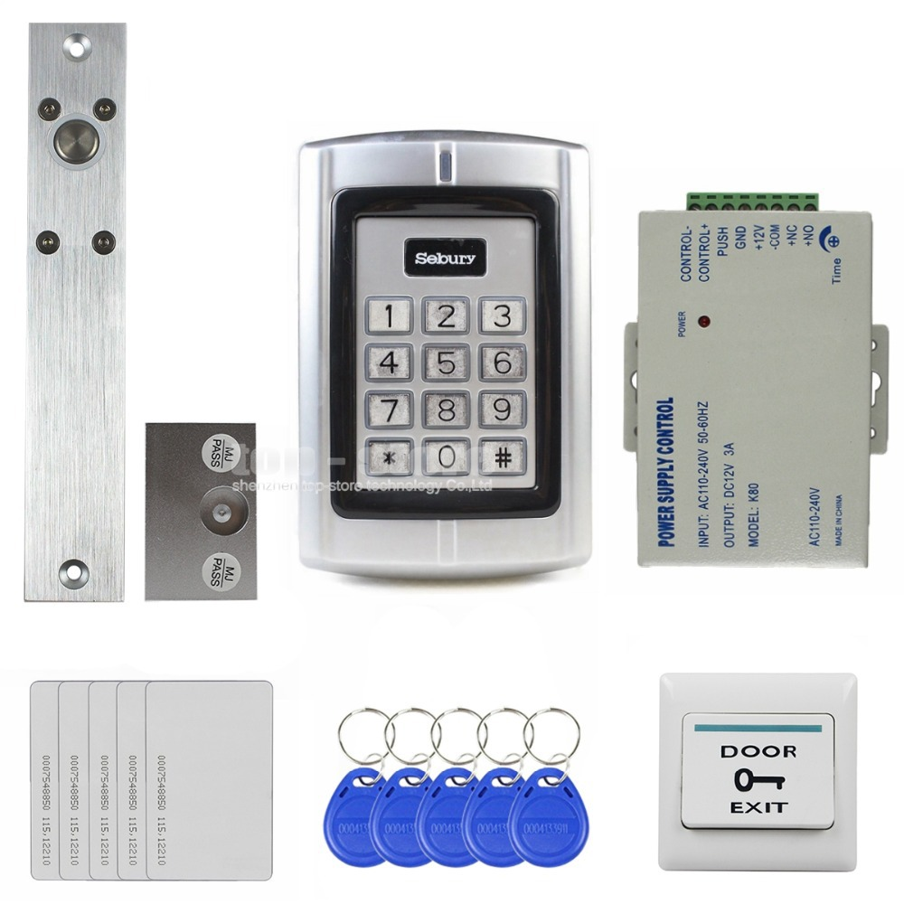 DIYSECUR 125KHz RFID Reader Password Metal Keypad Access Control System Security Kit + Electric Bolt Lock BC2000 diysecur electric lock 125khz rfid reader password metal keypad access control system security kit remote control bc2000