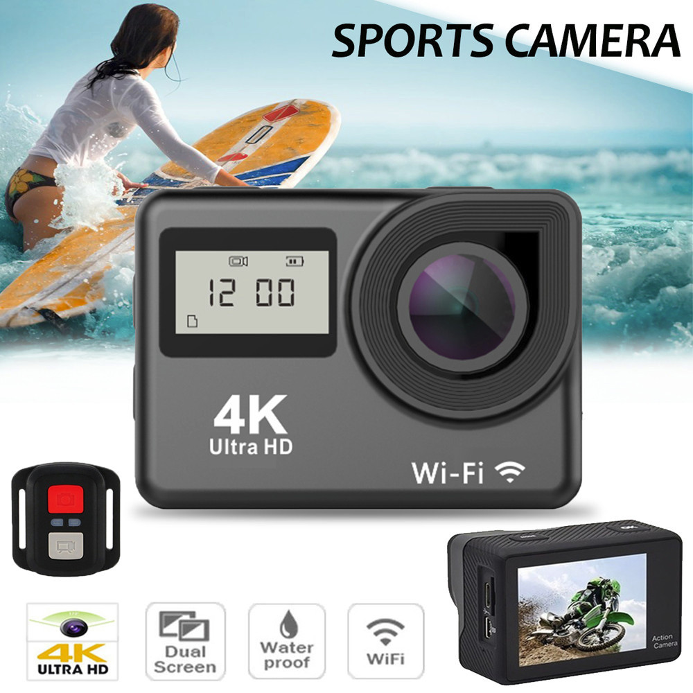 Waterproof 4K Dual Screen Wifi HD 1080P Sports Action Camera DVR Cam Camcorder 16MP phot ...
