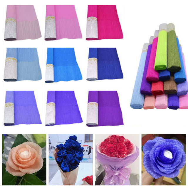 Paper flowers making at home image collections flower decoration ideas 1pc 50 x 250cm crepe paper flower wrapping diy silver edge tissue 1pc 50 x 250cm mightylinksfo