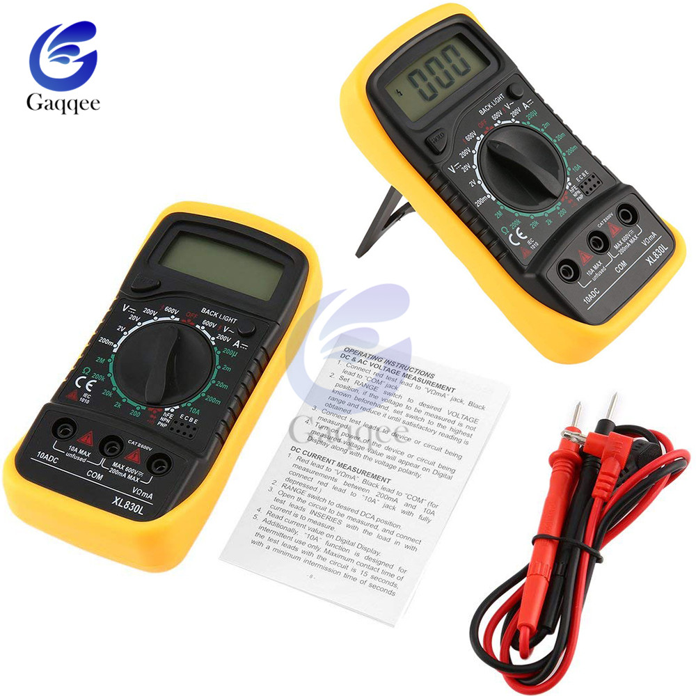 XL830L Mini Multimeter LCD Digital Multimetro For Volt Amp Ohm Tester Meter AC/DC Voltmeter Ammeter Portable With Probe Handheld