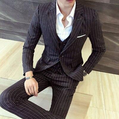 3 piece mens suit with pants vest tweed striped slim fit. Black Bedroom Furniture Sets. Home Design Ideas