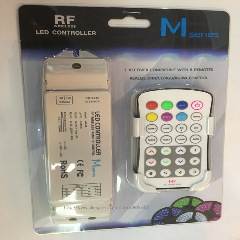 M7+M4-5A rgb led controller rf M7 touch remote with M 4 5A Receiver controller,5A*4CH Max 20A output mini rf rgb led controller m3 m4 5a m3 touch rf remote with m4 5a cv receiver led dimmer controller dc5v dc24v input 5a 4ch max 20a output