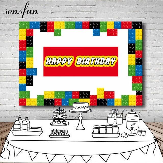 Sensfun 220x150cm In Vinile Colorato Lego Fotografia Sfondo Per I Bambini Buon Compleanno Sfondi Per Foto In Studio Personalizza