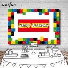 Sensfun Vinil 220x150cm Colorido Lego Fundos Para Estúdio de Fotografia Fotografia Pano de Fundo Para Crianças Feliz Aniversário Personalizar