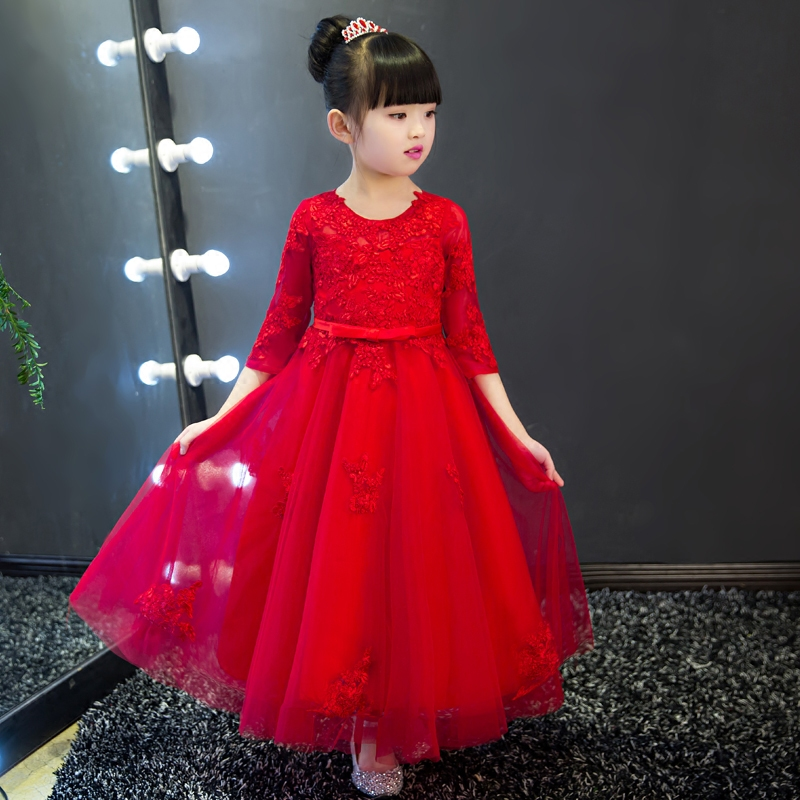 1-12Y Red Flower Girl Dresses Wedding Floor Length Kids Pageant Dress Birthday Party Ball Gown Girls Prom Dress Appliques B61 2 10y flower girls dress floor length big ball gown kids floral princess dresses birthday party dress new wedding clothes a79