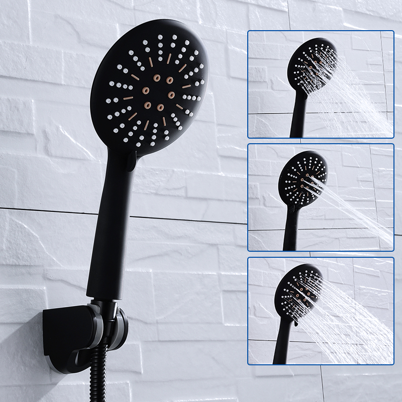 משלוח חינם 3 פונקצית מט שחור כף יד מקלחת ראש מקלחת קיר עם צינור מקלחת מחזיק