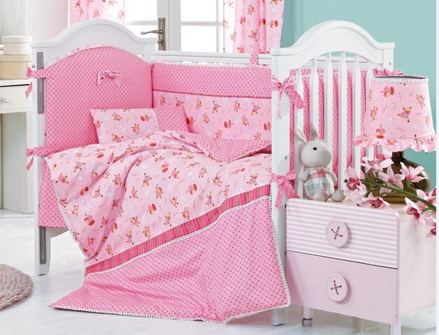 8 Pieces Pink Sheep Crib Baby Bedding Set Nursery Cot Ropa De Cama Per Quilt Ed Sheet Dust Ruffle With In Sets From Home