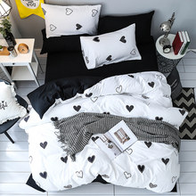 Black Heart Bedding Set Single Double Queen King Duvet Cover Quilt Cover Bed Cover Flat Sheet Pillow Cases 3PCS/4PCS(China)