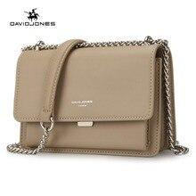 DAVIDJONES women handbag faux leather female crossbody bags small lady chain shoulder bag girl brand messenger bag drop shipping