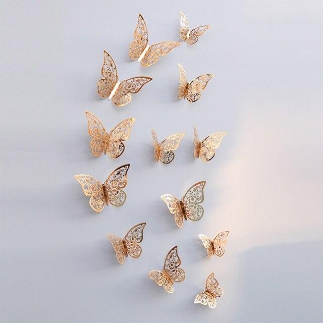 12 pièces 3D creux papillon autocollant mural pour la décoration de la maison bricolage Stickers muraux pour enfants chambres fête mariage décor papillon réfrigérateur