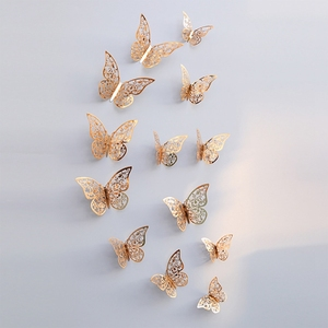 Image 1 - 12Pcs 3D Hollow Butterfly Wall Sticker For Home Decoration DIY Wall Stickers For Kids Rooms Party Wedding Decor Butterfly Fridge