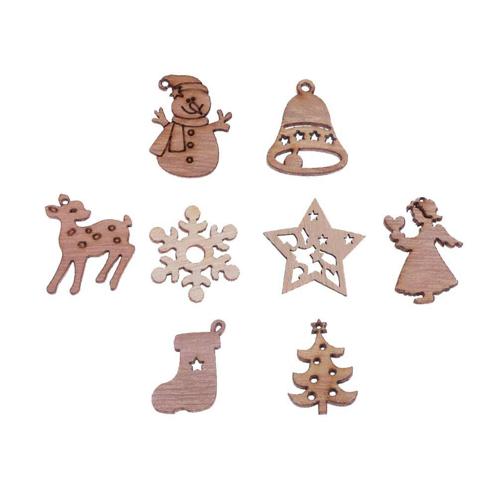 Christmas Cutouts.50pcs Christmas Wooden Ornament Diy Cartoon Cutouts Craft Xmas Embellishments Decorations For Christmas Tree Random Pattern