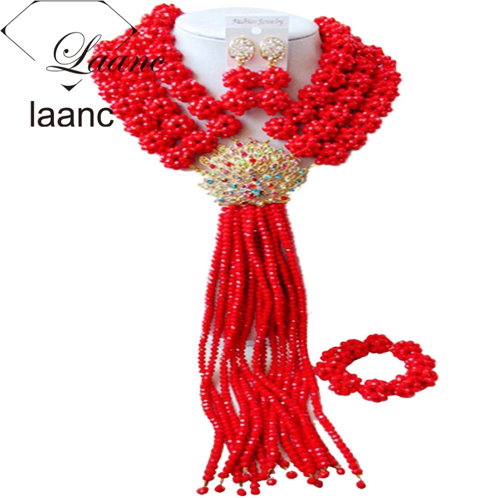 Nigerian Bridal Beads Necklace Set Red Opaque African Wedding Costume Jewelry AL047Nigerian Bridal Beads Necklace Set Red Opaque African Wedding Costume Jewelry AL047