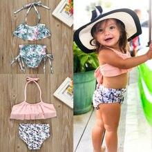 От 1 до 6 лет обувь для девочек купальный костюм 2 шт. детские купальные костюмы купальный ming цветочный Комплект для купания