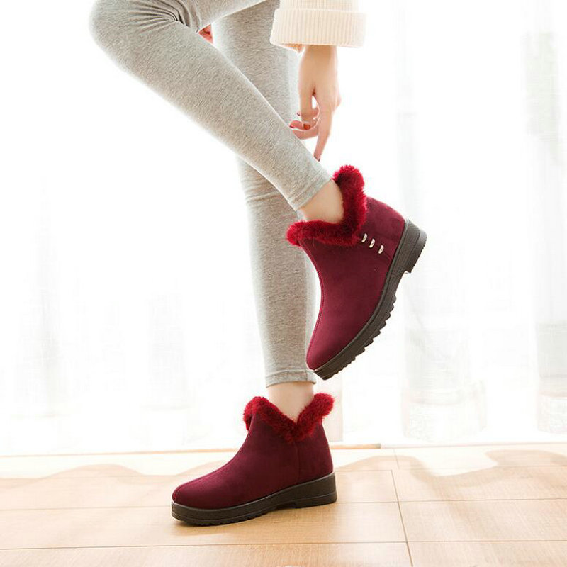 Mujer Calzado rojo Plataforma Invierno Para 2019 La Zapatos Negro Pp De Nieve Botas 49z Caliente Tobillo Planos Señora dfqCvwCTx