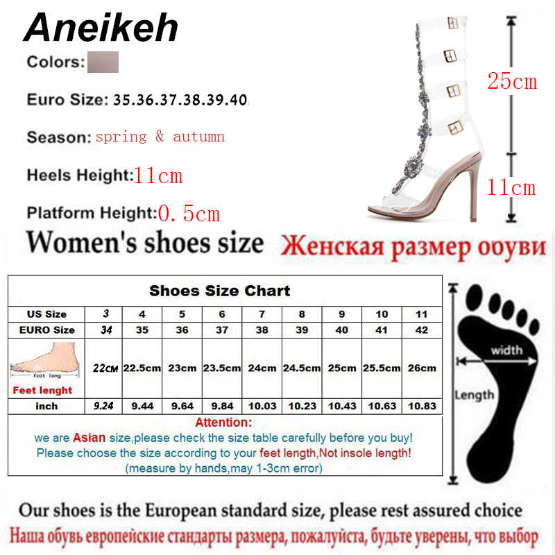 Aneikeh más zapatos talla 41 42 Sexy gladiador rodilla alto transparente hebilla sandalias moda cristal flor alto talón mujeres sandalia