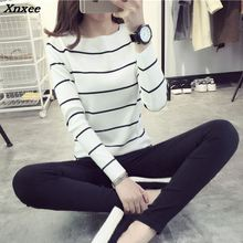 Striped collar shirt sweater coat dress in spring and autumn a long sleeved blouse Xnxee