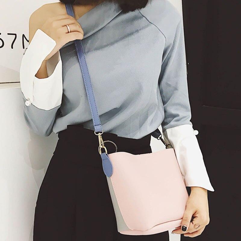 Luxury Brand Designer Bucket bag Women Leather Wide Strap Shoulder bag Handbag Large Capacity Crossbody bag Color 4 BS88