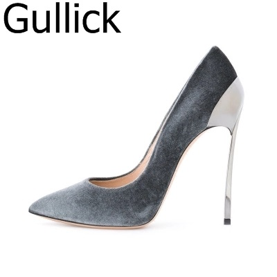 Women Solid Black Pink Flock Leather Pointed Toe Shallow Pumps Spring Autumn Slip On Metal Heel Shoes Hot Sale High Heel Shoes