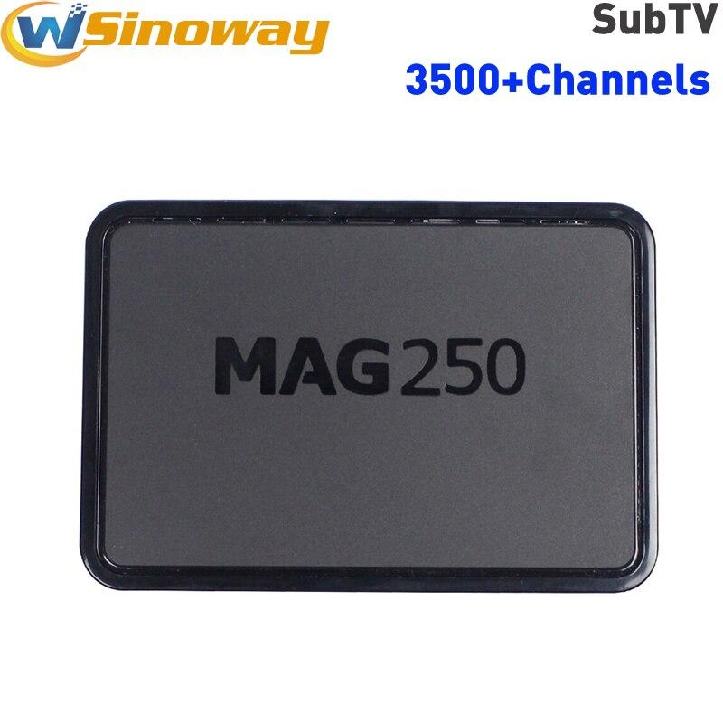 Prix pour Mag250 Linux iptv top Box MAG 250 comprennent Iptv Subtv Compte pk mag254 3500 + Canal Europe Arabe Canada Portugal ESPAGNE Afrique