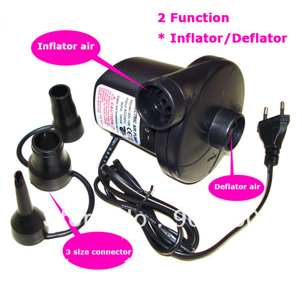 Free Shipping By CPAM Cheap Retail AC 220V Electric Air Pump (Inflator/Deflator) With 3 Different Nozzles  недорого