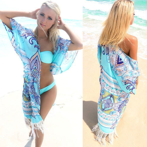 99863a95b7a42 Women Summer Bikini Chiffon Cover Up Beach Dress Brazilian Blue Tassels  Monokini Bikini Swimwear Bathing Cover-Ups Print