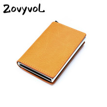 ZOVYVOL RFID Blocking Aluminum Single Box Card Holder Smart Crazy Horse PU Leather Wallet Multifunction Slim men wallet
