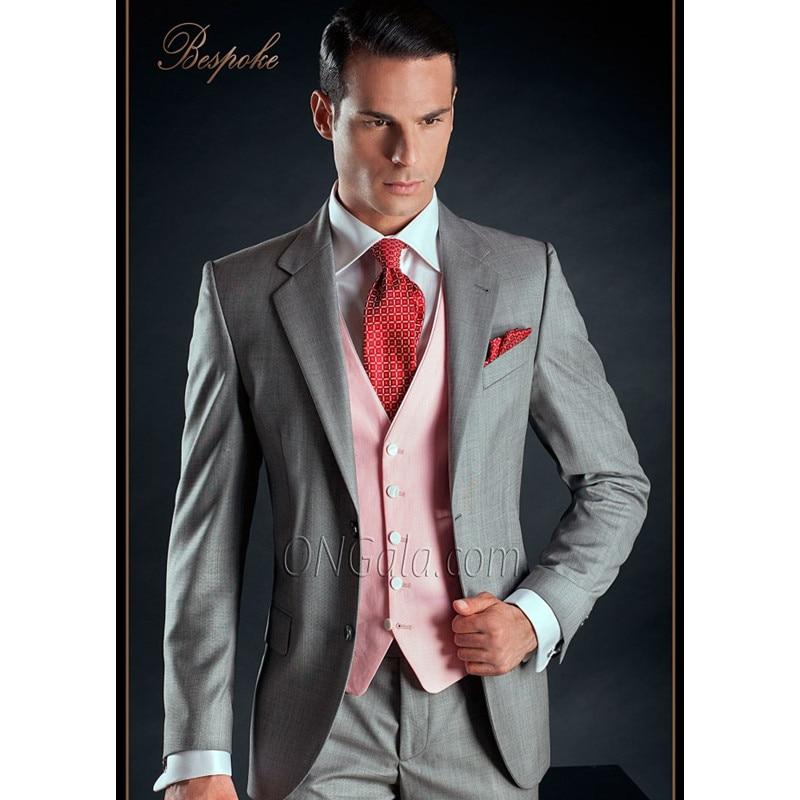 Custom Made Groomsmen Notch Lapel Groom Tuxedos Light Grey Men Suits Wedding Best Man Blazer ( Jacket+Pants+Tie+Vest ) A091