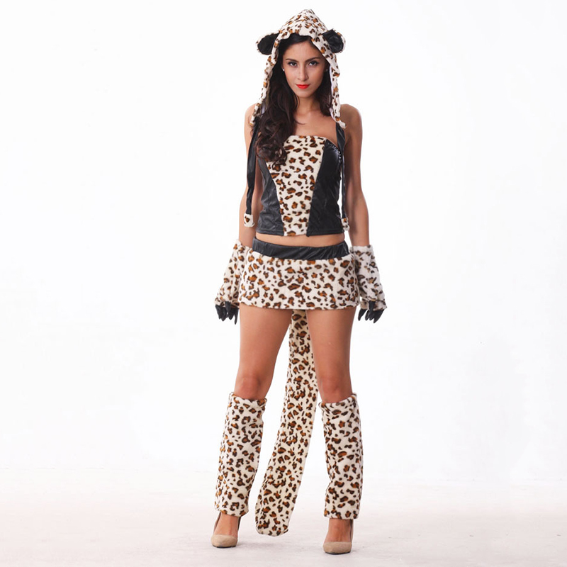 VASHEJIANG Animal Kigurumi Fur Leopard Cat Girl Costume Women Sexy Animal Fur Fox Cosplay Fantasias Halloween