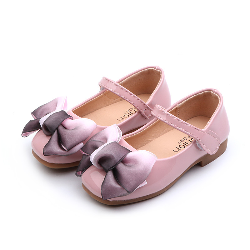 2019 Bow Kid Shoes Children Girls Dress Party Princess Leather Shoe Girl Fashion Flat Wedding Shoe 3 4 5 6 7 8 9 10 11 12 Years