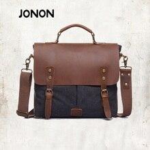 JONON Vintage Crossbody Bag Military Canvas + Genuine Leather shoulder bags Men messenger bag men leather Handbag tote JJ0031