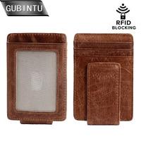 Магнитный кошелек GUBINTU с зажимом для денег и передним карманом, тонкий кошелек из натуральной кожи с блокировкой RFID, тонкий кошелек с сильны...
