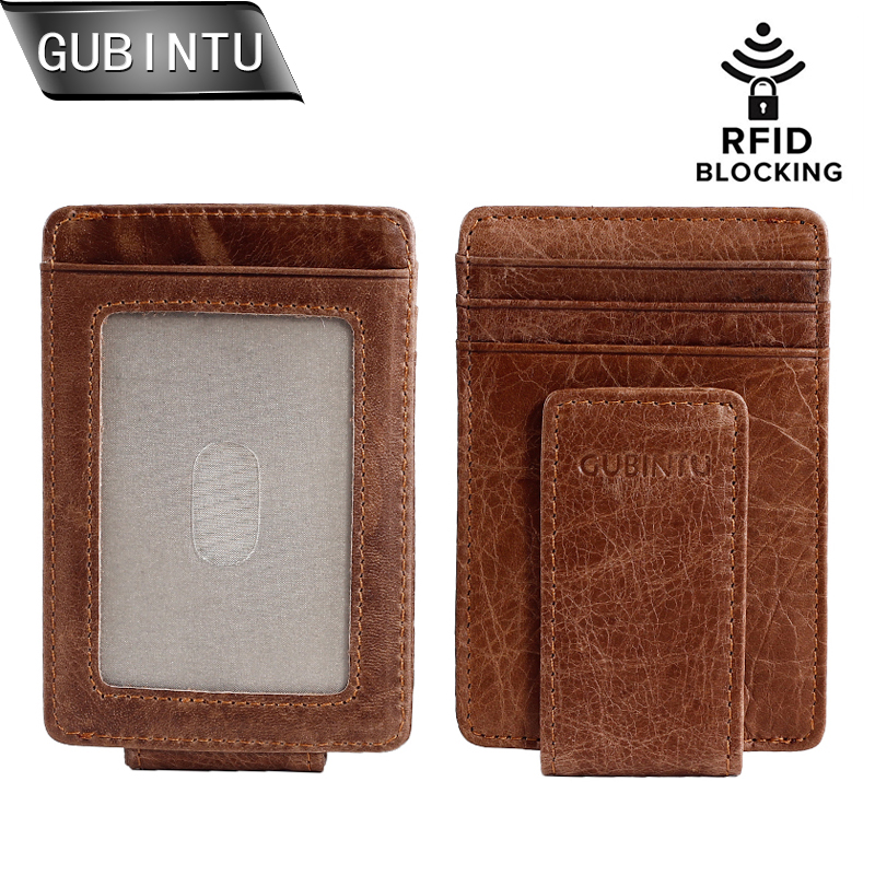 Magnetic Money Clip Front Pocket Wallet Slim Genuine Leather RFID Blocking Strong Magnet thin