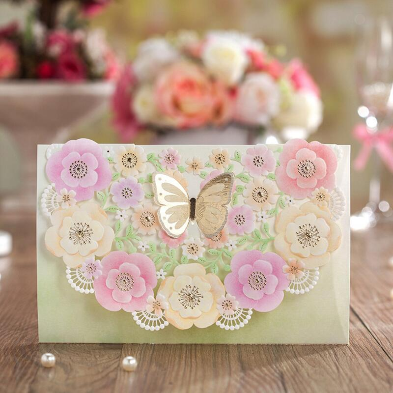 50pcs/pack Laser Cut Wedding Invitations Card with 3D Butterfly Flower Printable & Customized Engagement Birthday Party Supplies