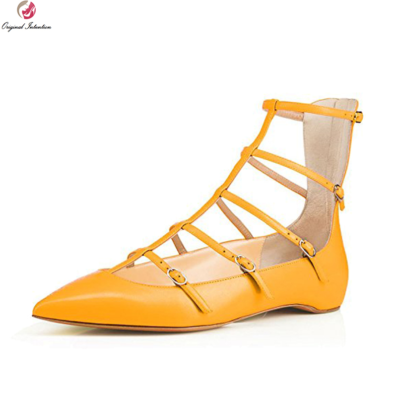 Original Intention Stylish Women Sandals Pointed Toe Flat Sandals Nice Black Blue Nude Red Yellow Shoes Woman Plus US Size 4-15 zapatos mujer black red summer sweet bowtie flat sandals slip toe beach sandals butterfly knot flat sandals shoes plus size 44