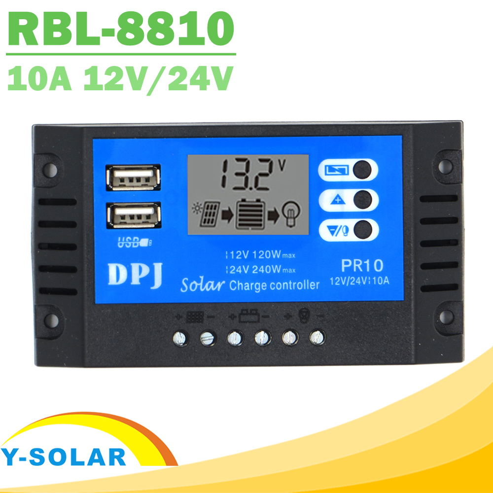 Y-SOLAR PWM Mini Solar Charger Controller 10A LCD Display 12V 24V Auto Solar Regulator with Dual USB 5V for PV System boguang 20a 12v 24v solar controller mppt system kit solar panel battery light charger led display with dual usb 5v regulator