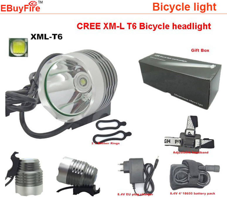 CREE XM-L T6 Bike light bicycle headlamp Front Light LED light Head Lamp + 8.4v 4x 18650 Battery Pack + EU US Charger + Gift box 30000lm 14x xml t6 led head front bycicle lights bike light head light headlamp battery pack tail light