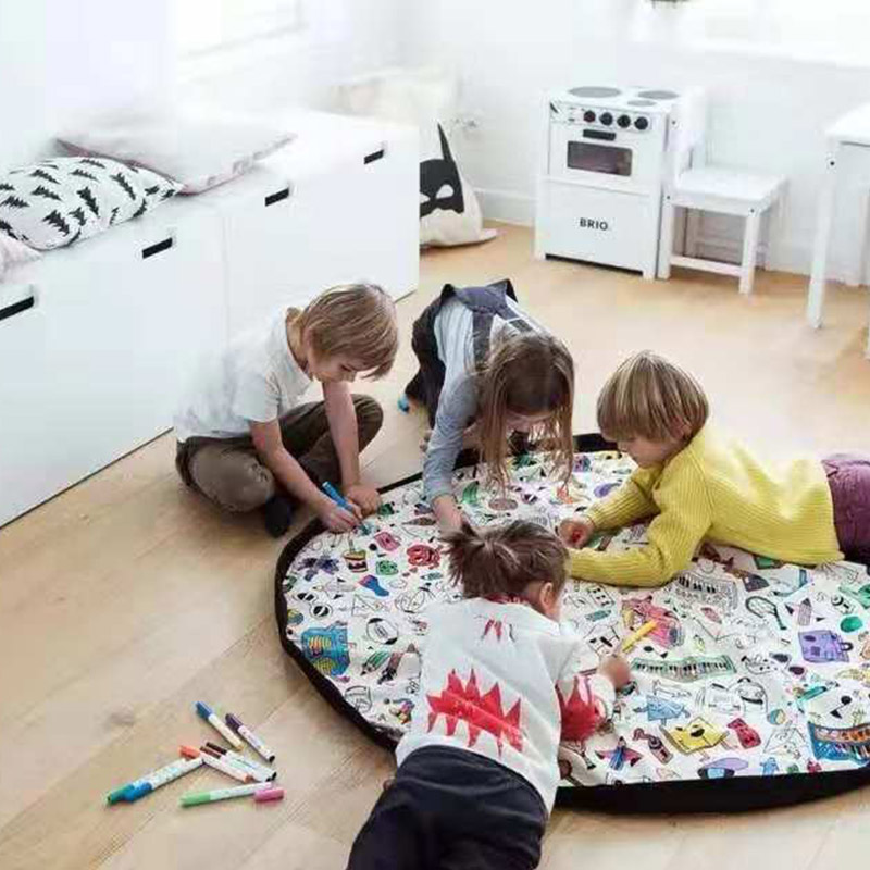Baby DIY Graffiti Toy Canvas Round Organizer Tool Kids Play Floor Mat Blanket Nursery Rug Carpet
