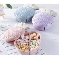 1PC Pineapple Shape Cover Four Grid Snack Fruit Tray Plate Candy Box Home Dry Food Dessert