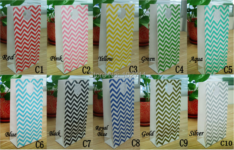 20105cm standard colorful solid chevron gift paper bags 100pcs per lot with