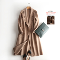 Hand Make Double Sided Cashmere Coat Female Plus Long Camel Color Wool Coat Waist Belt Manual