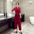 Korean fashion 2016 V neck hollow plus size women jumpsuits four season sexy slim solid supple breathable ladies Rompers K53